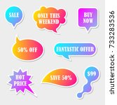 vector stickers  speech bubbles ... | Shutterstock .eps vector #733283536