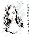 beautiful young woman portrait. ... | Shutterstock .eps vector #733294972