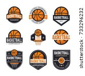 set of basketball logos ... | Shutterstock .eps vector #733296232