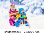 little girl and boy enjoy a... | Shutterstock . vector #733299736