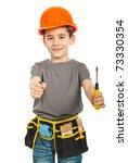 Little Constructor Boy Giving...