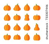 halloween pumpkin icon set.... | Shutterstock .eps vector #733307446