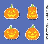 carving face halloween pumpkin... | Shutterstock .eps vector #733307452