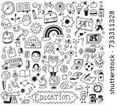 school education   doodle set   ... | Shutterstock .eps vector #733311328