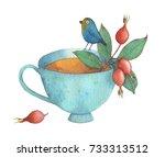 Watercolor Bird On A Porcelain...