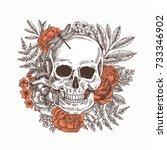 floral human skull tattoo