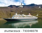 cruise ship in norway in a... | Shutterstock . vector #733348378