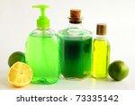 soap liquids and citrus fruits...   Shutterstock . vector #73335142