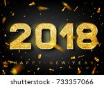 2018 happy new year. gold... | Shutterstock .eps vector #733357066