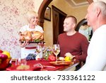happy family having holiday... | Shutterstock . vector #733361122
