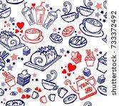 various coffee cake cupcake... | Shutterstock .eps vector #733372492