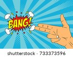 male hand with two fingers  ... | Shutterstock .eps vector #733373596
