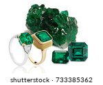 raw emeralds and emerald rings  ... | Shutterstock . vector #733385362