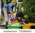 african descent kid separating... | Shutterstock . vector #733386835