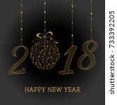 happy new year card. the year... | Shutterstock .eps vector #733392205