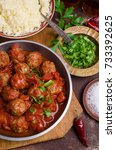 traditional spicy meatballs in... | Shutterstock . vector #733392625