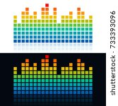 square dots shaped equalizer... | Shutterstock .eps vector #733393096
