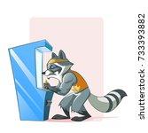 raccoon play game using arcade... | Shutterstock .eps vector #733393882