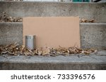 Small photo of This sign, made to portray homelessness is blank to allow for editing.