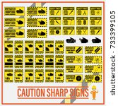 set of safety caution sharp... | Shutterstock .eps vector #733399105