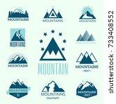 vector set of mountain...   Shutterstock .eps vector #733408552