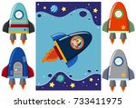 boy in the rocket and different ... | Shutterstock .eps vector #733411975