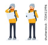 climber set  tourist with map.... | Shutterstock .eps vector #733411996