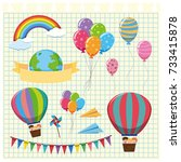 colorful balloons and flags on... | Shutterstock .eps vector #733415878