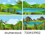 four scenes with mountains and... | Shutterstock .eps vector #733415902