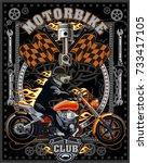 vintage wolf motorcycle label | Shutterstock .eps vector #733417105