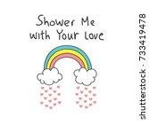 cool t shirt design in doodle... | Shutterstock .eps vector #733419478