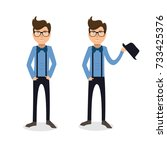 funny and cool cartoon guy in... | Shutterstock .eps vector #733425376