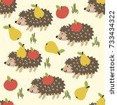 hedgehog pattern | Shutterstock .eps vector #733434322