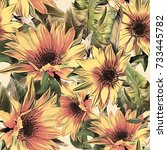 Sunflowers Seamless Pattern....