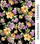 watercolor  flower  pattern   Shutterstock . vector #733454092