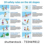 10 safety rules on the ski... | Shutterstock .eps vector #733469812