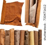 genuine leather in rolls and a... | Shutterstock . vector #733471612