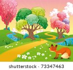 Fox in the wood. Funny cartoon and vector scene. Isolated objects - stock vector