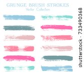 watercolor  ink or paint brush... | Shutterstock .eps vector #733490368
