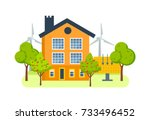 farm house with a plot of land... | Shutterstock . vector #733496452