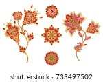 set. stylized golden shiny... | Shutterstock . vector #733497502