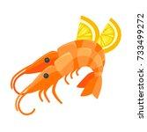 shrimp with lemon illustration...   Shutterstock .eps vector #733499272