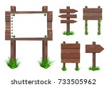 vector set of wooden signs with ... | Shutterstock .eps vector #733505962