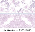 lilies and lavender lace card.... | Shutterstock .eps vector #733511815
