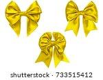 three satin lemon bows with... | Shutterstock . vector #733515412