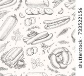 vector pattern with meat... | Shutterstock .eps vector #733522156