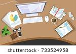 messy cluttered office desk | Shutterstock .eps vector #733524958