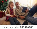 grandfather and granddaughter... | Shutterstock . vector #733526986