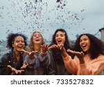 happy friends standing on a... | Shutterstock . vector #733527832