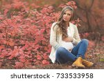 portrait of young pregnant... | Shutterstock . vector #733533958